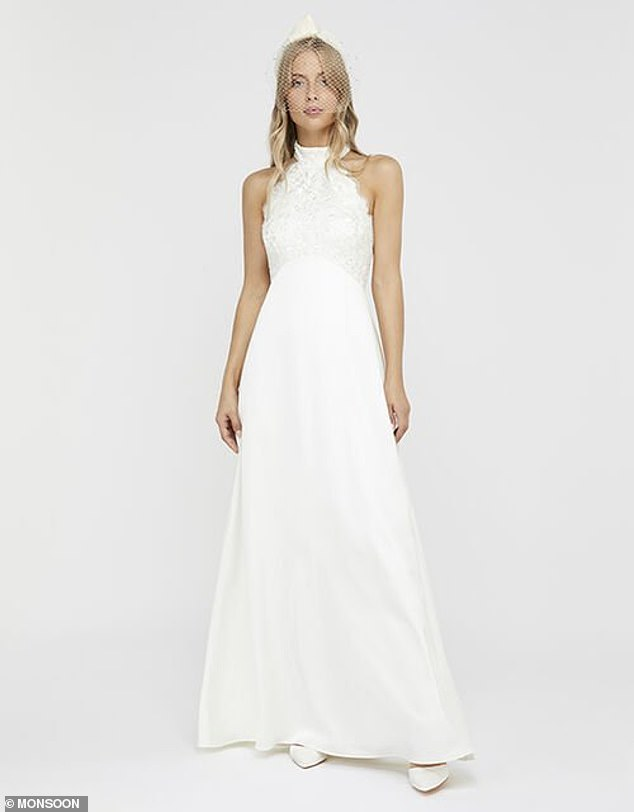 BEST FOR ANY BODY TYPE: The Floral bridal maxi dress from high street hero Monsoon boasts a halter neck bodice that will flatter most figures. Thebeautiful column silhouette features a tucked waist and fastens with a row of fabric buttons, while lace detailing adds to the elegance
