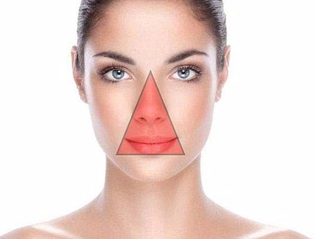 Also named as the Danger Triangle, the facial 'Triangle of Death' stretches from the tip of the nose to a point on either side of the lips, roughly where dimples usually appear