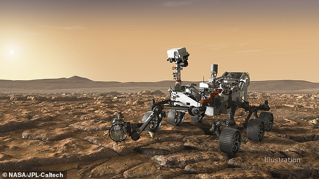 An artist's rendering of the Perseverance rover on Mars. It's mission is to scan for evidence of microbial life and store rock and dust samples to eventually be brought back to Earth for study