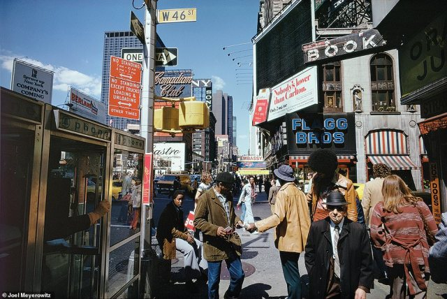 In the 1960s, there was unrest and demonstrations - against the Vietnam War and people fighting for their civil rights - in New York City and across the country. Turmoil continued into the 1970s and the city was dirty, crime-ridden and teetered on bankruptcy. However, Meyerowitz also pointed out that it was a time when artists and creativity flourished in what was then an affordable city. He said the above image, New York City, 1976, on W 46th Street is 'the ultimate example of chaos'