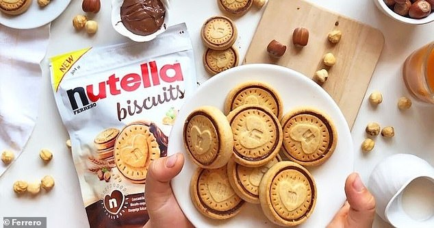 The sweet biscuits are made from a shortbread outer layer encasing a hazelnut spread filling