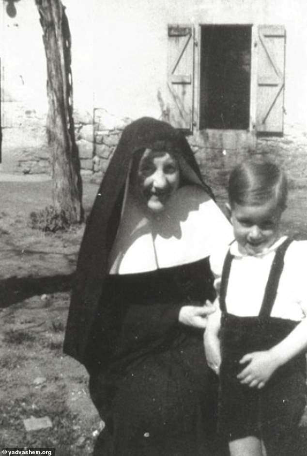 Sister Denise with one of the children she helped keep safe at the convent. She was honoured as a Righteous Among Nations in 1980