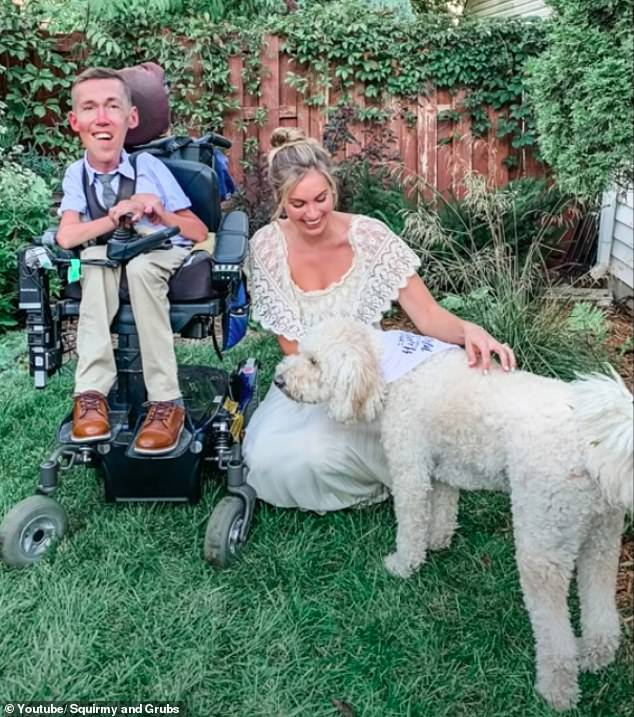 Family:They were also joined by their dog, and after making the marriage official, the couple dug into a white wedding cake