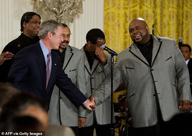 At the time of his death, Bruce was working on a gospel project with BlackBerry Jam. Pictured: Williamson shakes hands with President George W Bush in 2008