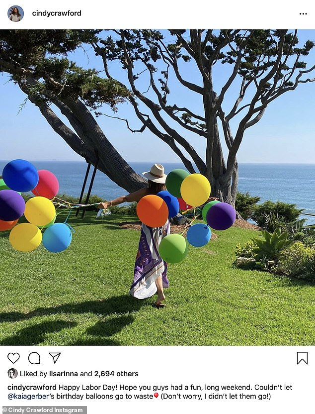 Fun in Malibu!Cindy Crawford was seen holding a bunch of balloons though her face was not visible; she said the balloons were for Kaia