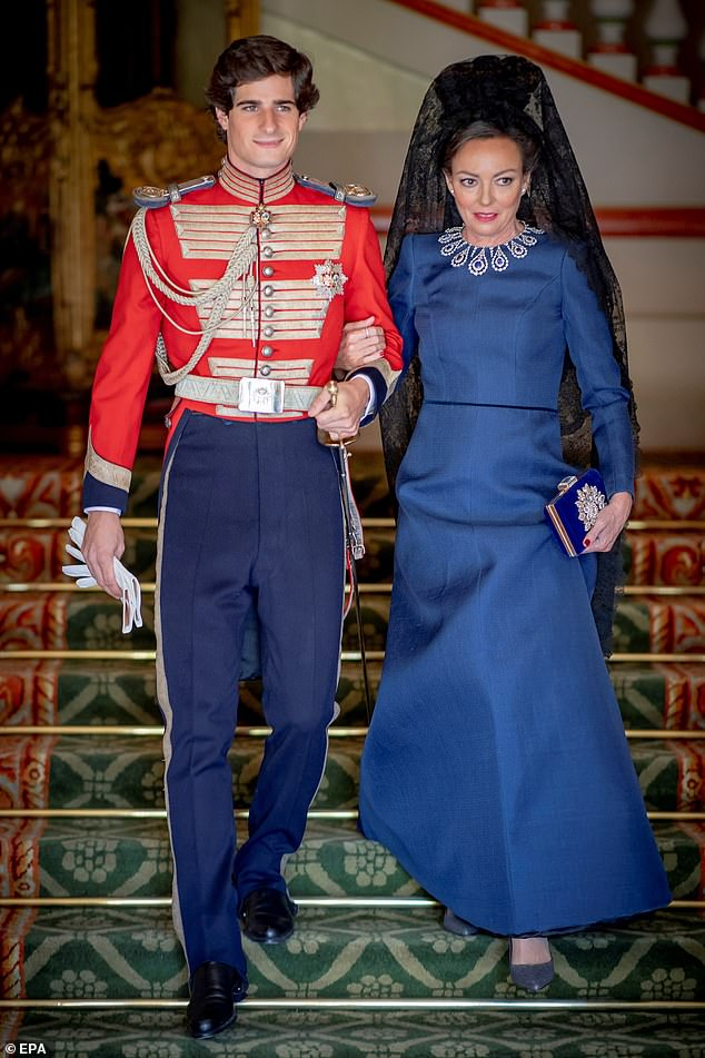 The groom Duke of Huescar, Fernando Fitz-James Stuart y Solis (L) is accompanied by his mother Matilde Solis, during his wedding with Sofia Palazuelo at Palacio de Liria palace in Madrid, Spain, 6 October 2018