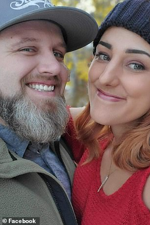 Aaron Richardville with his wife Bree.Aaron said if it were not for his aunt discovering the fire they 'wouldn't have been able to get in here' just 30 seconds later