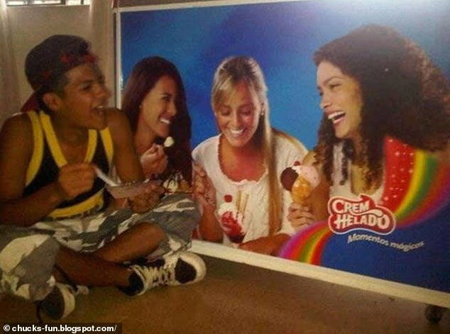 Another viral image shows a man in Spain enjoying his ice-cream next to an advert of smiling women for company