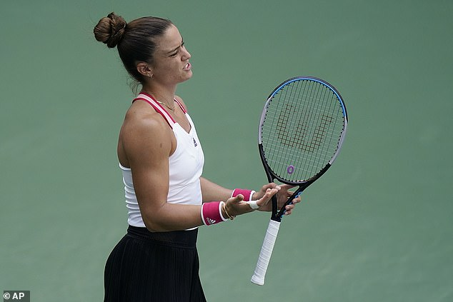 Sakkari (above) struggled in the opening set, which she lost 6-3 to the American champion