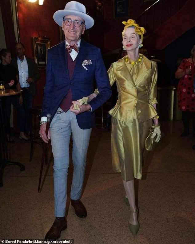 Stepping out: Enjoying an evening together, the couple opted for glamorous outfits when at a local restaurant. Britt donned a golden ensemble, whileGünther looked dashing in a blue blazer