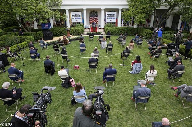 The file photo above shows how journalists are excluded during press briefings