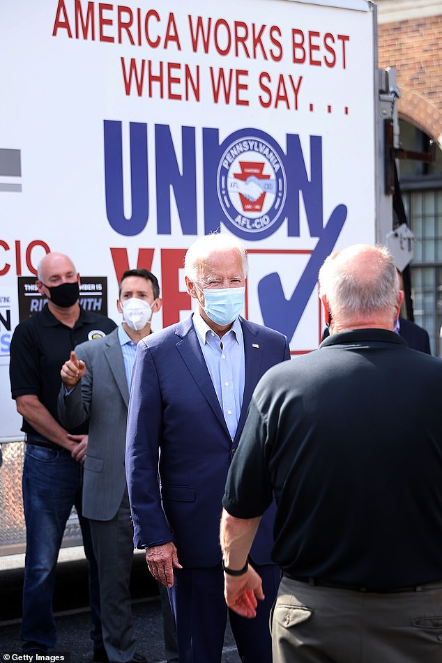 Beforehand, Biden briefly met with Pennsylvania labor leaders at the headquarters of the AFL-CIO in Harrisburg, the state capital