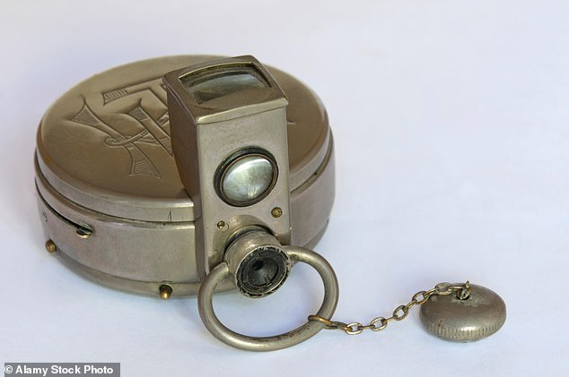 Miniature spy camera:A Houghton Ticka watch camera with accessory viewfinder