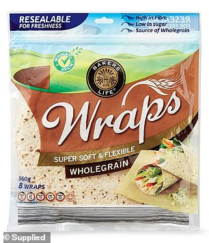 Several bread items were nominated as winners including Bakers Life Mini Wholegrain Wraps ($1.89 for an eight pack; pictured)