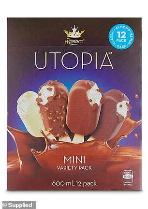 In Aldi's 'Couch Companion' category, their Monarc Utopia Mini Variety Pack of ice creams ($4.99; picturde) was deemed to be the best