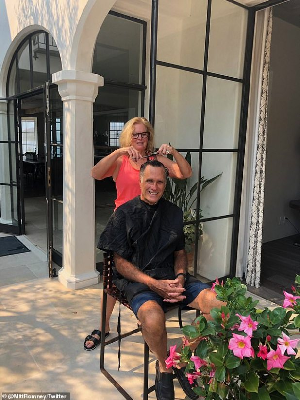 'Cleanliness is underway to resume the Senate.  Better Salon than Pelosi!  'Romney tweeted referring to Pelosi's recent visit to a hair salon, which was closed due to local coronavirus restrictions.  Romney shared a tweet with a photo of his wife cutting hair at her home