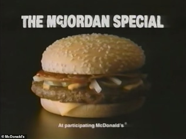 Special sauce: The McJordan Burgerconsisted of a Quarter Pounder with cheese and bacon and its own special barbecue sauce made for the sandwich