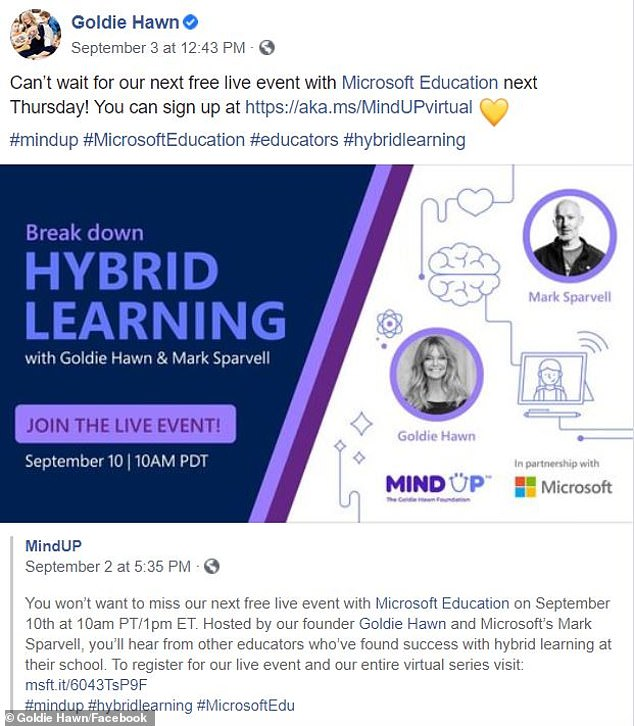 'Can't wait!' Goldie is founder of the non-profit neuroscientific MindUP program, and she'll co-host a free hour-long live event about blended learning techniques with Microsoft Education's Mark Sparvell this Thursday at 10am PST