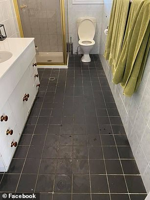 A mother transformed the filthy bathroom floor of her Queensland rental