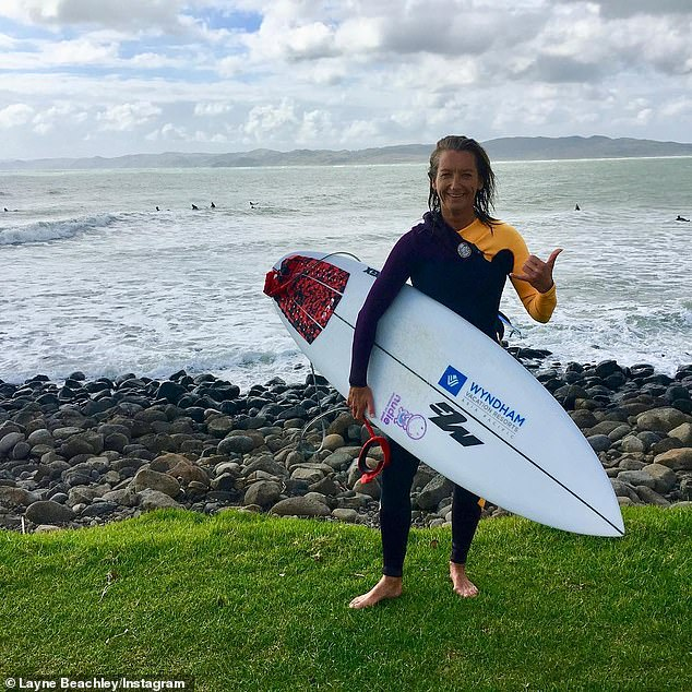 Champion:Layne is one of the world's most successful female surfers, and was inducted into the Australian and American halls of fame in 2006