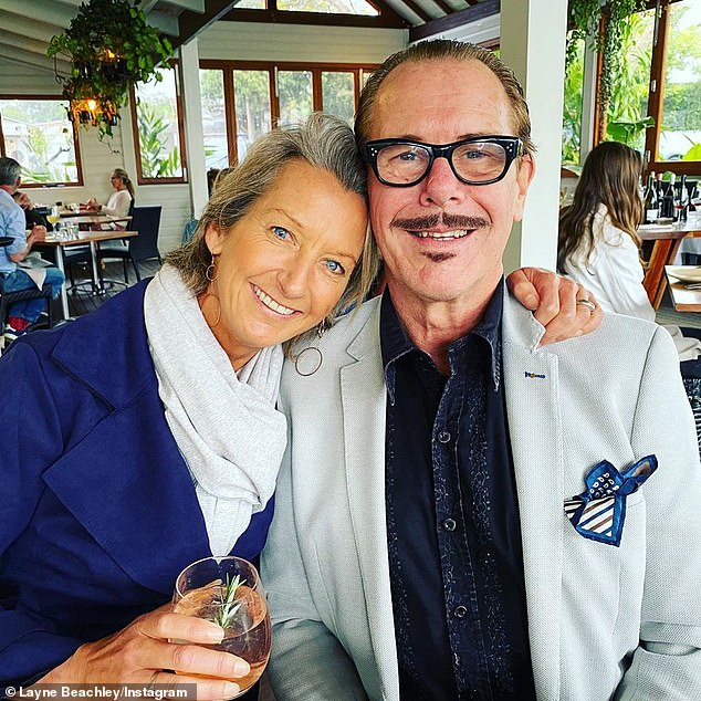 Rocker: Layne, who hails from Sydney's Northern Beaches, is married to INXS rocker Kirk Pengilly, 62 (pictured)