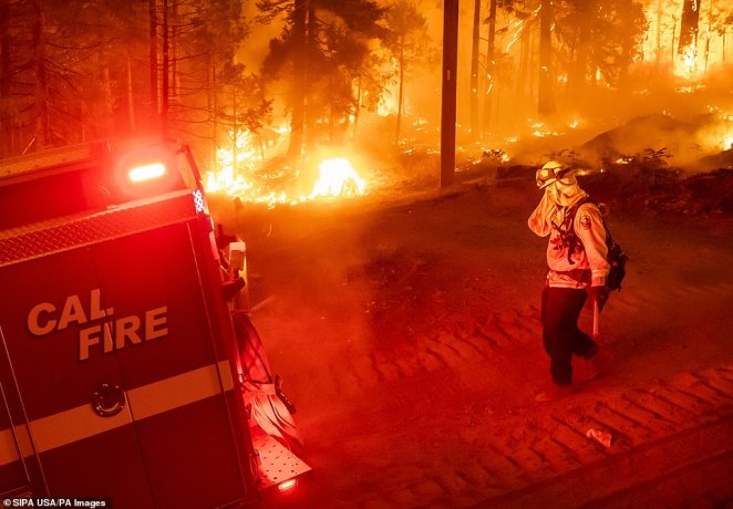 The Creek Fire (pictured) is currently blazing across the Sierra National Forest, 250 miles east from San Francisco