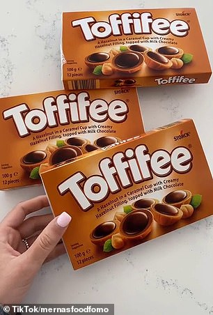 Australian shoppers are obsessing over the world famous Toffifee caramel cups - complete with a creamy hazelnut filling, topped with chocolate