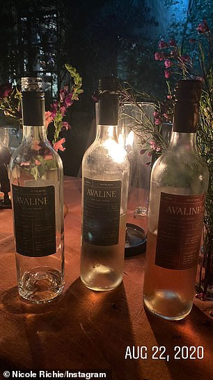 Supportive sis: The Making the Cut judge posted a snap of three nearly empty bottles of her sister-in-law Cameron Diaz's wine brand Avaline