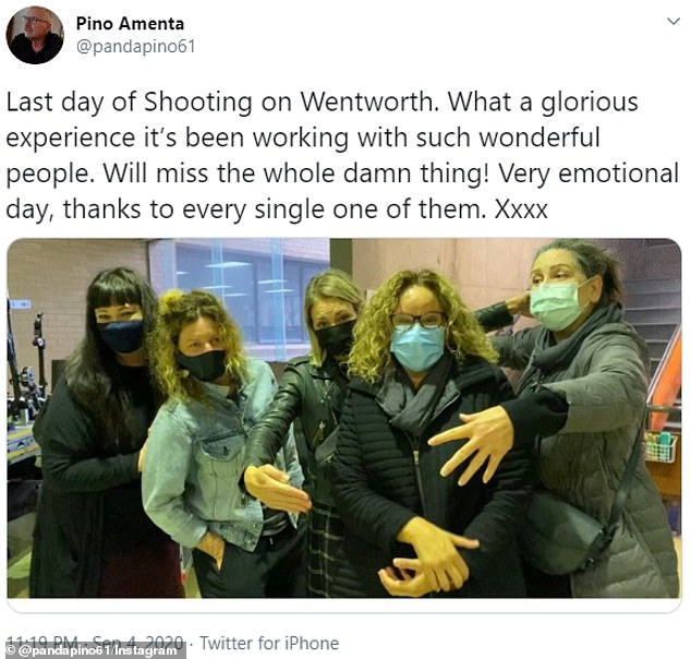 Last day: Wentworth's producer Pino Amenta shared a few photos on the final day of filming on Twitter. Among the photos he shared was the actors on set as well as a picture of the cast after filming and in face masks
