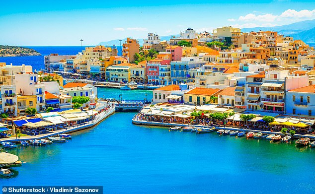 The Transport Secretary revealed that Lesvos, Tinos, Serifos, Mykonos, Crete (pictured), Santorini and Zakynthos are being added to the 'red' list as of 4am on Wednesday