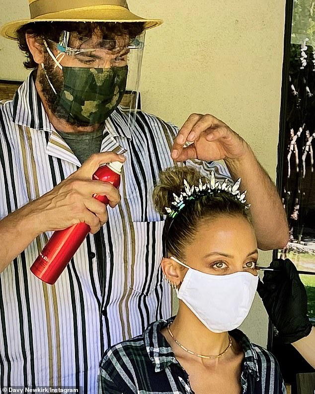 Glam squad: On August 30, Nicole hit the red carpet for the first time since COVID-19 thanks to PPE precautions taken by her make-up artist Mai Quynh and hairstylist Davy Newkirk (L)