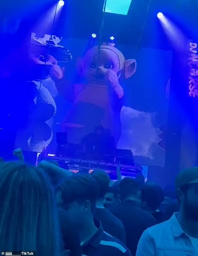 The video montage showed revellers dancing at a Teletubby-themed rave (pictured), Hannah enjoying some drinks and finishing the night off with a Halal Snack Pack