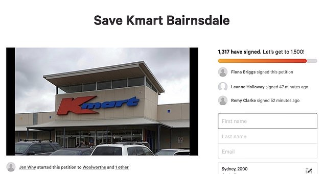 A Change.org petition called 'Save Kmart Bairnsdale' (pictured) has since been started and garnered more than 1,300 signatures