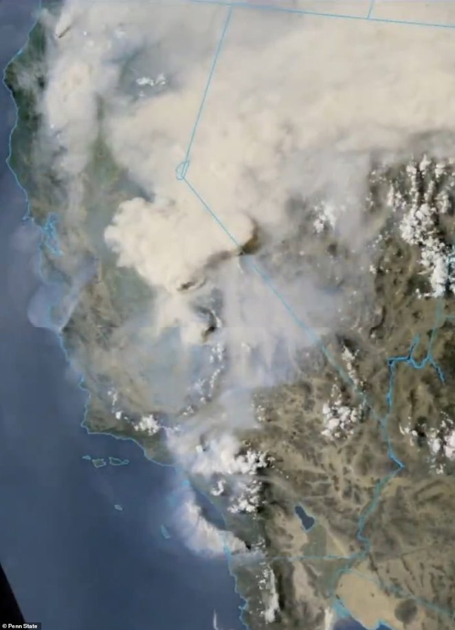 Satellite images on Saturday gave a sense of the scale of the El Dorado fire, which was started by a gender reveal photoshoot
