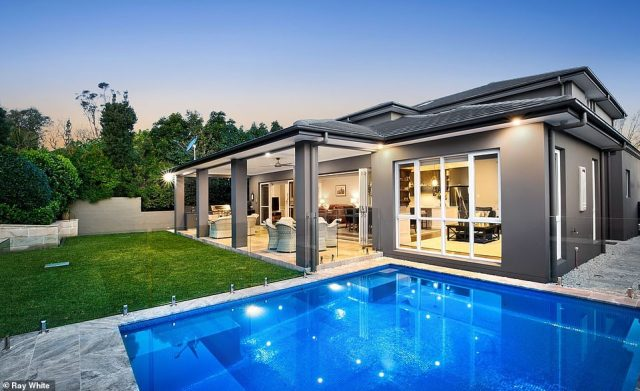 After three weeks on display 142 groups have viewed the home. Pictured: The spectacular Italian-tiled pool