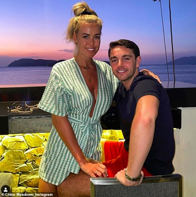 Cute couple: Chloe Meadows has revealed that marriage and babies are definitely on the cards with boyfriend George Wales, and they are in the process of buying their first home together