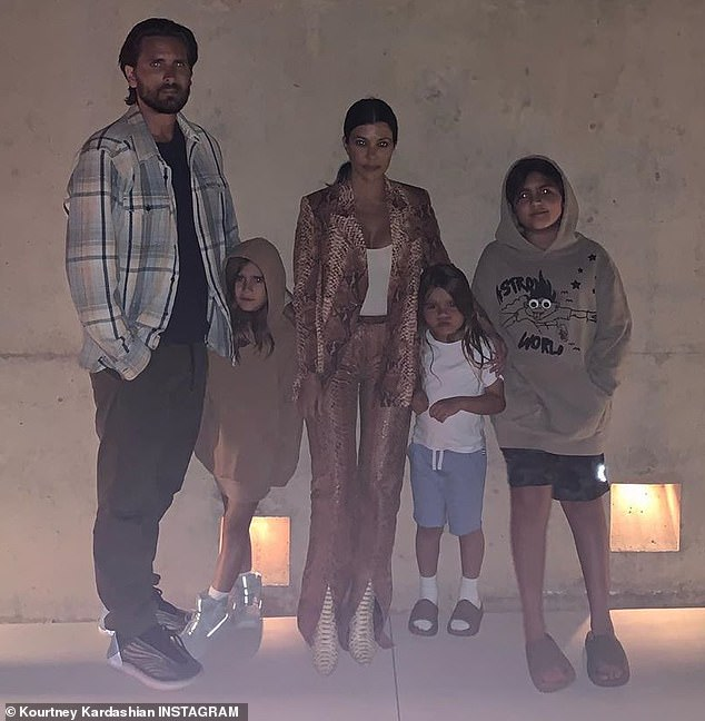 Family man: Instead of galavanting around town with Sofia, Scott has been spending tons of quality time with his ex Kourtney Kardashian, 41, and their three children, sons Mason, 10, and Reign, five, and daughter Penelope, eight; Scott and family pictured in June