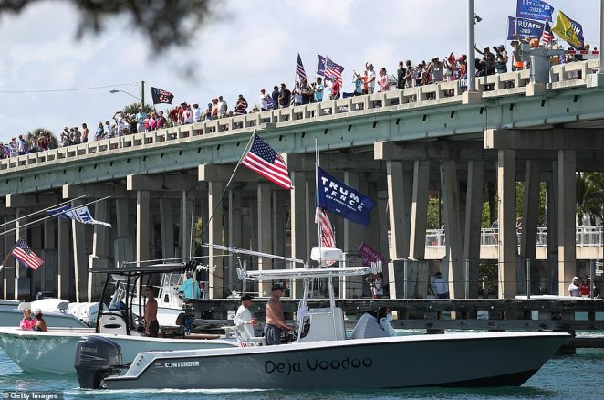 During the parades, boaters waved Trump 2020 flags, MAGA signs and US flags in a patriotic show of support for the current President