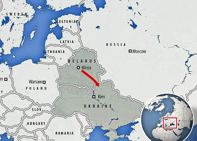 Border police said that Kolesnikova was arrested at a crossing between Belarus and Ukraine (shown on a map)