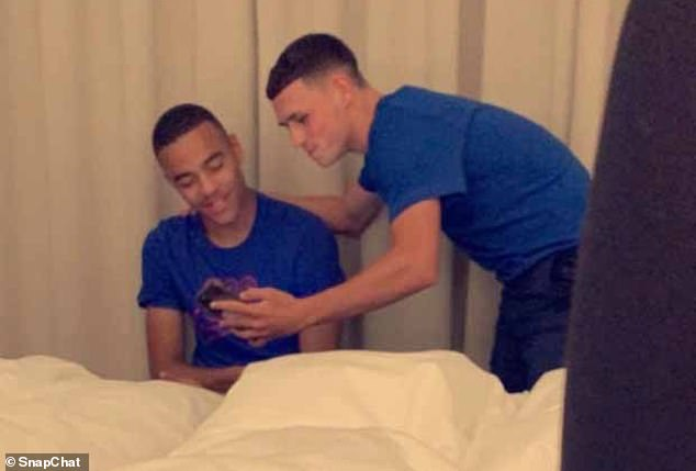 One of the girls uploaded pictures of Mason Greenwood (pictured left) and Phil Foden (pictured right) to social media