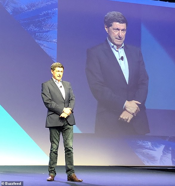 Jon Sopel presided over two sessions at JP Morgan¿s Global Markets Conference in Paris in 2017 ¿ which included an interview with Mr Dimon. And in 2016, Mr Sopel appeared at JP Morgan¿s Board Summit in New York. Pictured is Mr Sopel giving an off-the-record keynote address at the world's biggest tobacco company's Miami conference in April