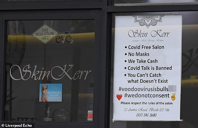 Skin Kerr Aesthetics, Hair and Beauty, in Bootle, Merseyside, shared the notice on its Facebook page, which has since been deleted