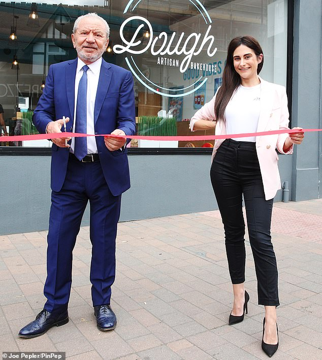 Opening:Lord Alan Sugar, 73, joined The Apprentice winner Carina Lepore, 30, as they opened a new branch of Dough Artisan Bakehouse in Beckenham on Tuesday