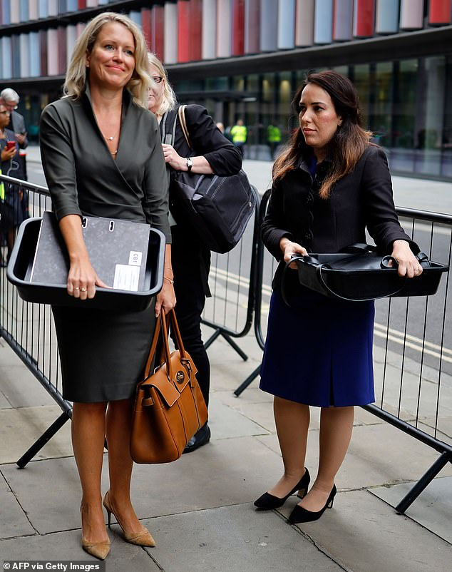 Australian human rights lawyer Jennifer Robinson, left, with Stella Moris, right, the partner Wikileaks founder Julian Assange, outside the Old Bailey today