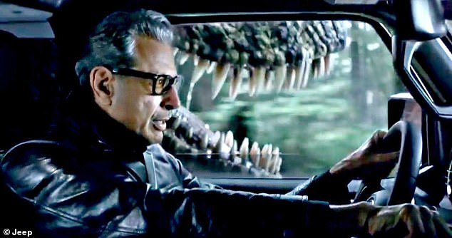 Killed off? Goldblum has already teased a life or death scene with Dern, saying, 'it was me and Laura and Sam in a jeep. I can't tell you any more about it, but it was very thrilling' [pictured in a 2018 ad for Jeep]