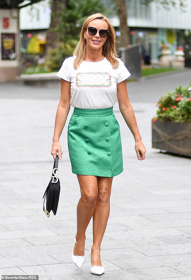 Gorgeous:The Britain's Got Talent judge put on a leggy display in the fun skirt as she left Global after hosting the early morning show