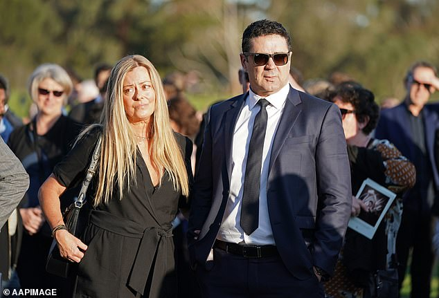 Garry Lyon and Nicky Brownless at a memorial for Danny Frawley in September 2019.  Brownless said he was now in a 'good spot' with both his ex-wife and Lyon