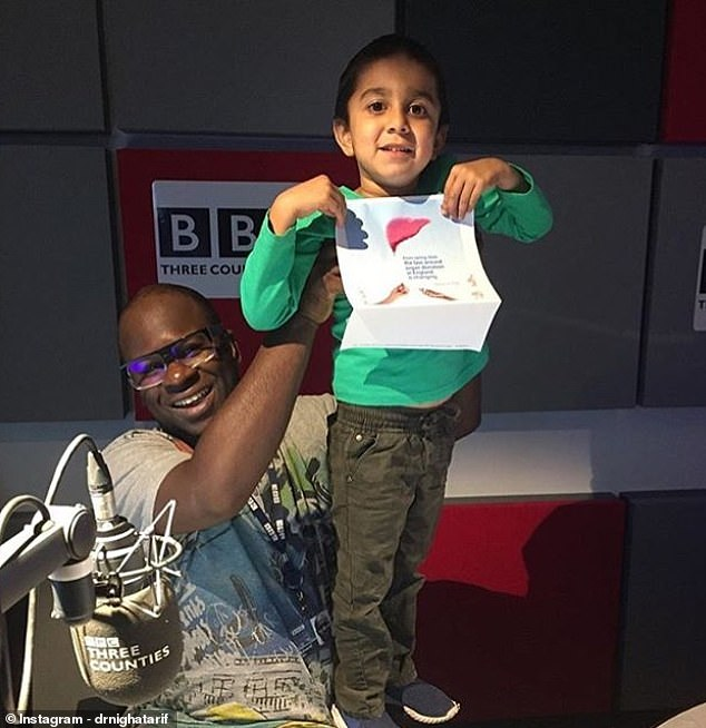Thriving: Qasim, who had a condition called 'bile salt export protein pump deficiency' (BSEP), was dangerously ill as a young baby but is now in good health after having a transplant (Pictured with BBC DJ Edward Adoo)
