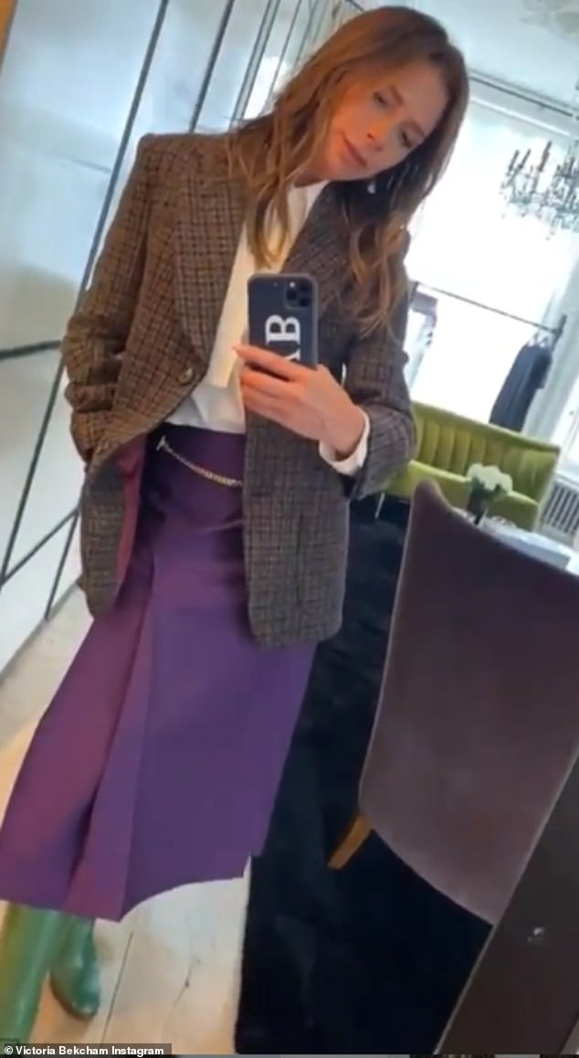 Fashionista: Victoria Beckham appeared to brush off speculation she and her husband David secretly had coronavirus in March with her latest Instagram snap on Tuesday