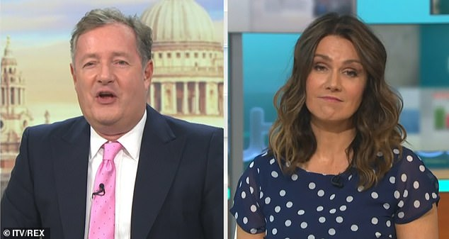 Loggerheads:After reading his wife's words, Piers doubled down on his comments that fat-shaming is conducive to weight loss, while Susanna called the method 'disgusting'